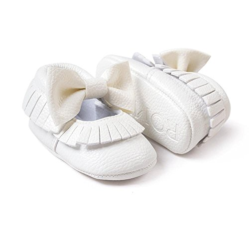 Ouneed® Krabbelschuhe , Weihnachten Baby Girl Bowknot Tassels Shoes Toddler Soft Sole Sneakers Casual Shoes Weiß