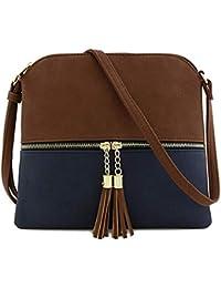 15e2ed41d2b51 BaZhaHei Damen Ledertasche Umhängetasche Kleine Damentasche Schultertaschen  Handtasche Retro Vintage Tasche Crossbody Bag…