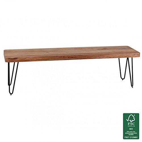 FineBuy Esszimmer Sitzbank Massiv-Holz Akazie 160 x 45 x 40 cm Design Holz-Bank Natur-Produkt Küchenbank Landhaus-Stil dunkel-braun Bank 3-Sitzer für innen ohne Rücken-Lehne Echt-Holz unbehandelt