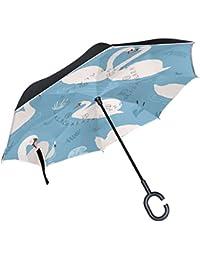 ALAZA cisne amor flores corazón lago paraguas invertido doble capa resistente al viento Reverse paraguas