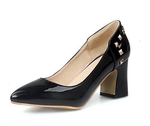 AllhqFashion Damen Mittler Absatz Rein Ziehen auf Lackleder Spitz Zehe Pumps Schuhe, Gelb, 36