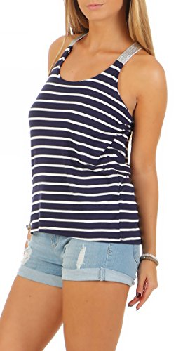 Malito Damen Top Gestreift | T-Shirt mit gekreuzten Trägern | Basic Oberteil �?Trägertop �?ohne Arm 1331 Dunkelblau
