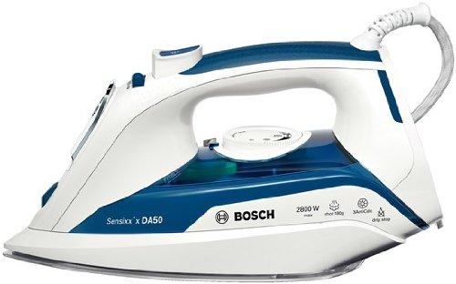 Bosch TDA5028010 Dampfbügeleisen Sensixx'x (2800 Watt max, Dampfstoß 180 g/min, Dampfleistung 45 g/min, CeraniumGlissée Bügelsohle) weiß/blau