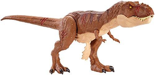Jurassic World- World Tyrannosaurus Rex XL Che ruggisce, Ferite da Combattimento, FVP48 figurina, Multicolore