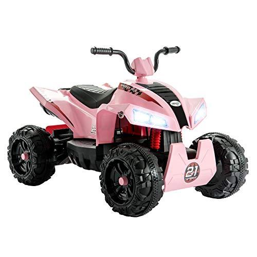 UEnjoy Kinderauto ATV Elektro 12V ATV für Kinder Fahrt auf Auto w / 2 Geschwindigkeit, Federung, LED-Leuchten, Eingebautes Horn, Getretene Reifen, Motortöne für Kinder, Rosa