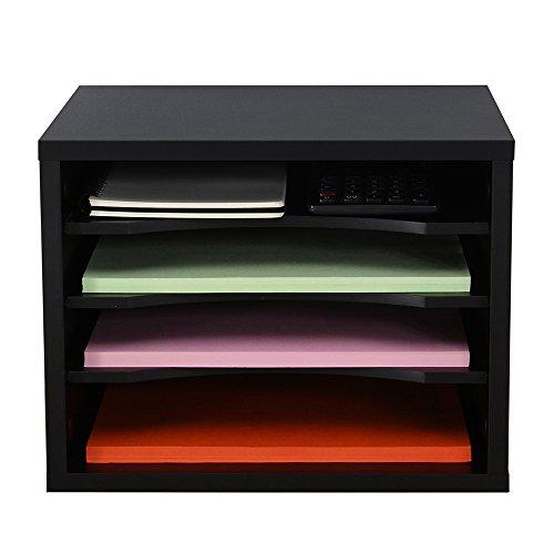 FITUEYES Schreibtisch Ablagesystem Tisch-Organizer aus Holz 35,5 x25cm schwarz DO403501WB