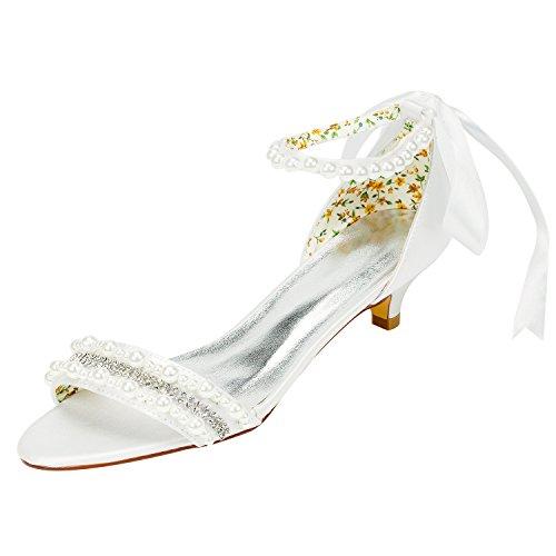 Emily Bridal Frauen Satin Kitten Heel Sandalen mit Perlen Crystal (EU40, Elfenbein) Crystal Heels