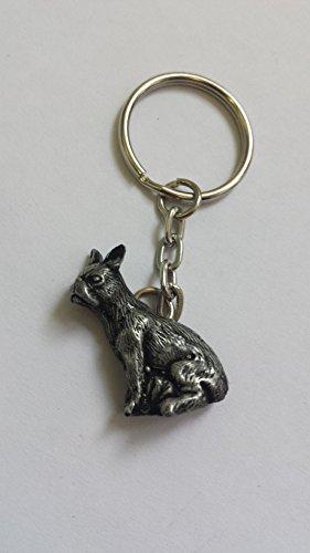 Französische Bulldogge Zinn Effekt Tier 3D Emblem auf einem Split Schlüsselanhänger handgefertigt (Lover Dog Schlüsselanhänger Charm)