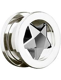 Piersando® Flesh Tunnel Ohr Piercing Plug Ohrpiercing Schmuck Schraub Edelstahl mit Stern Inlay Motiv aus Kristall