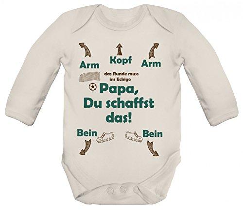 Fußball WM EM Strampler Bio Baumwoll Baby Body langarm Jungen Mädchen Fussball Papa du schaffst das, Größe: 3 - 6 Monate,Organic Natural