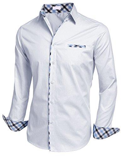 BeautyUU Herren Hemd Langarm Hemd Baumwolle Hemd Freizeithemd Bügelleicht Weiß XXL