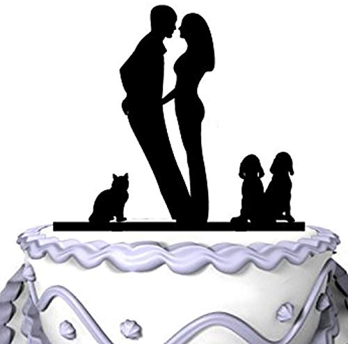 Wedding Cake Topper Couples First Kiss with Golden Retrievers Dogs and Cat Silhouette Acrylic Cake Topper Party Cake Topper, Ideal Gift, Personalized Cake Decor -