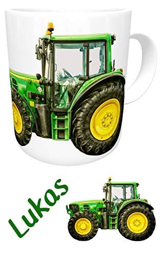 Kilala Kunststoff Traktor Tasse mit Wunschname, Kindergartentasse, Plastik Becher für kleine & große Landwirte (Kunststoff) - Traktor-becher