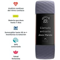Fitbit Charge 3 - Pulsera avanzada de salud y actividad física,Gris Azulado / Aluminio Color Oro Rosa