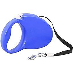 Correa Extensible retráctil para Perro pequeñas, medianas y grandes hasta 5 metros soporta del perro de animal doméstico de la correa moderno ergonómico diseño, materiales respetuosos del medio ambiente YM-0206 (Azul)