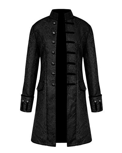 GladiolusA Chaqueta Gotica Steampunk Hombres Traje Vestido Victoriano Uniforme De Chaquetas Abrigo Negro L