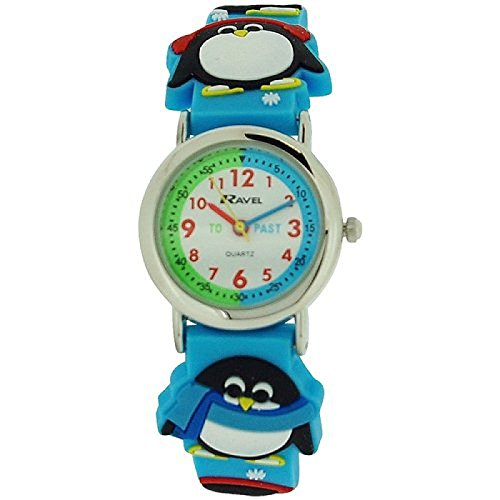 ravel-reloj-infantil-con-diseno-de-pinguino-en-3d-esfera-blanca-correa-de-color-azul-r151372