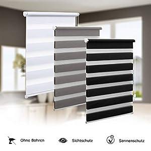 Eurohome Doppelrollo Klemmfix ohne Bohren, Duo Rollo,60cm x 150cm (Stoffbreite 56 cm) weiß Transparentes und undurchsichtiges Sichtschutz Rollo mit Klemmträgern für Fenster