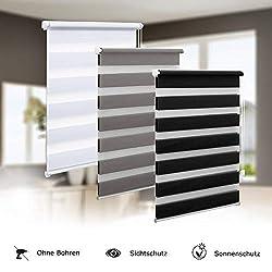 Eurohome Doppelrollo Klemmfix ohne Bohren, Duo Rollo,90cm x 150cm (Stoffbreite 86 cm) weiß Transparentes und undurchsichtiges Sichtschutz Rollo mit Klemmträgern für Fenster