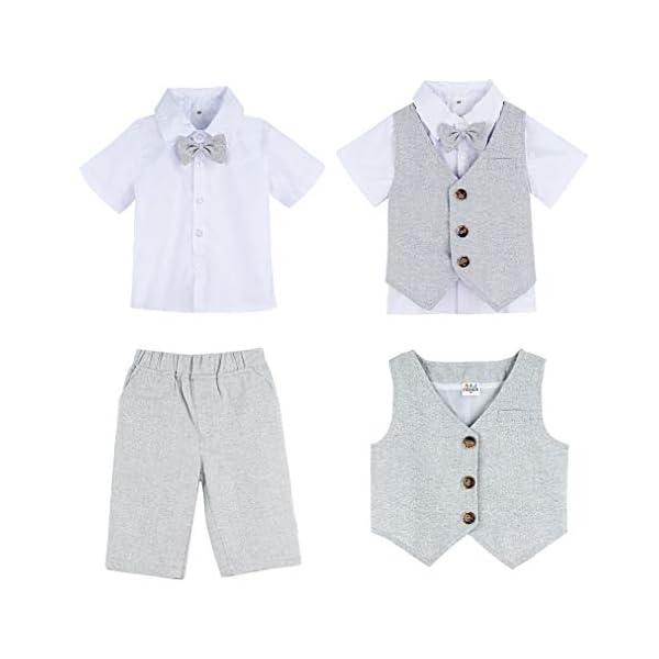 mintgreen Conjunto Camisa de Manga Corta Bebé Niños, Traje Caballero con Pajarita Chaleco, 3 Piezas Tamaño: 1-5 Años 4