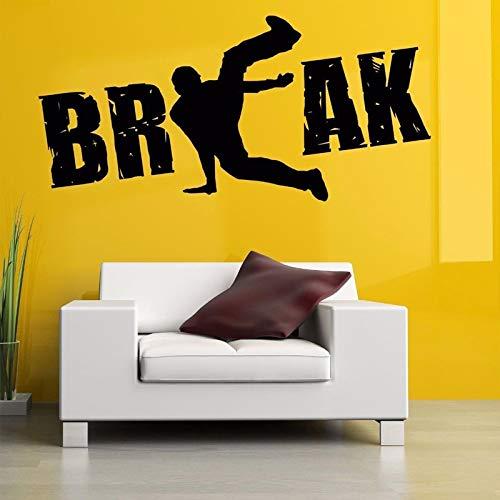 Junge Break Dance Street Wandaufkleber Für Musik Tanzen Raum Tapete Kunst Dekoration Wandtattoos Wohnzimmer Home Murals rot 90X42 cm
