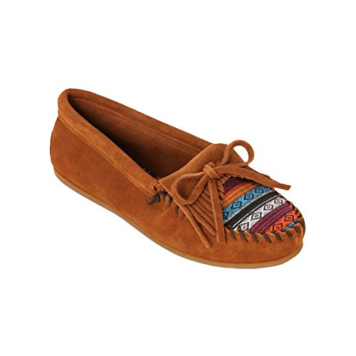 Minnetonka Kitty Brown Suede Brown Suede/Arizona Fabric