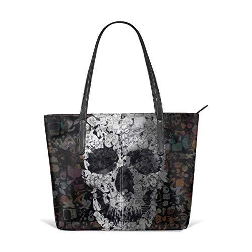 Cocoal-ltd Doodle Handtasche mit Totenkopf-Motiv, aus Leder, groß, tragbar