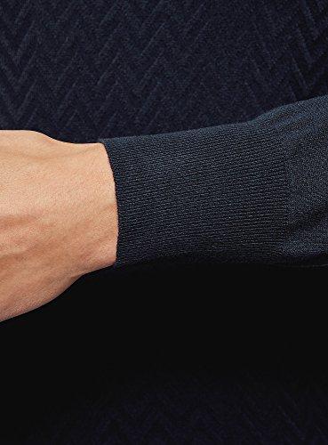 oodji Ultra Herren Strickpullover mit Strukturiertem Muster Blau (7900N)