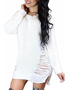 EMMA Jerseys Mujer invierno Vestido Pullover de Largo Suéter Tejido Manga larga