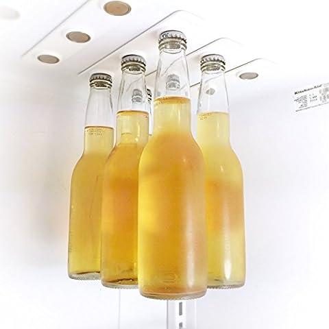 Botella de magnético percha para frigorífico   para 6botellas   Super Strong   ahorrar espacio en el frigorífico   Botellas de cerveza o cualquier Capped de metal   rápido y fácil de instalar   © beersky, Blanco