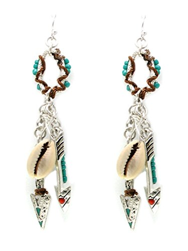 Vacaciones Playa boho hippie Chic larga pendientes caracola Flecha perlas esmalte rojo turquesa hilo marrón