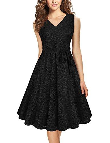 Bebonnie Floral Cocktail Party Kleid, Frauen Casual Sommer ärmellose Spitze Swing Brautjungfer Tücher schwarz klein
