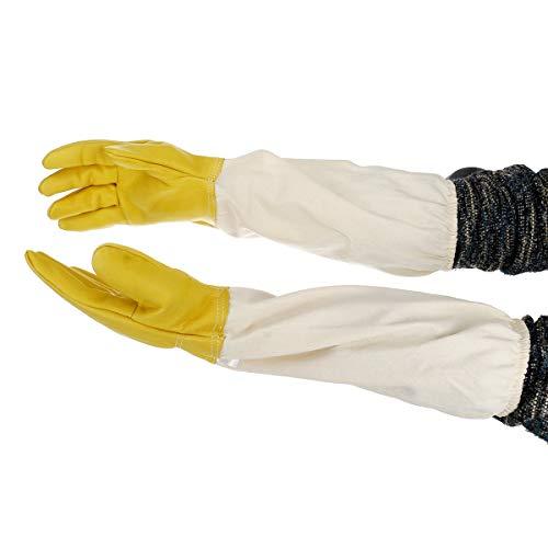 DyNamic Extra Largo Beekeeping Abeja Trabajo Guantes Real Cabras De Cuero Resistente Ventilado - Blanco