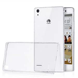 Real Shopping Perfect Fitting High Quality 0.3mm Ultra Thin Transparent Silicon Back Cover For Huawei Ascend P7