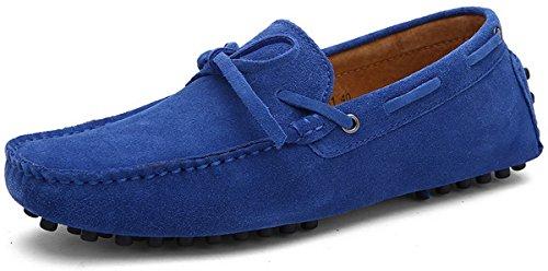 Joomra mocassins scarpe da uomo casual cuoio eleganti estivi nappine pelle senza lacci barca pantofola blu reale 43