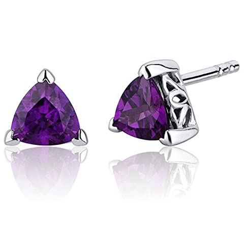 Revoni 1.50 Carats Amethyst Trillion Cut V Prong Stud Earrings
