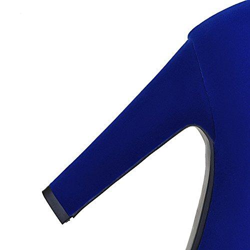 AllhqFashion Damen Reißverschluss Hoher Absatz Rein Hoch-Spitze Stiefel mit Lesbie Blau