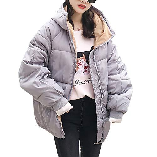 (Damen Winterjacke MYMYG Wintermantel Lange Daunenjacke Parka Jacke Outwear Winter Warm Daunenmantel Steppjacke Mantel Oberbekleidung Trenchcoat (Grau,EU:38/CN-L))