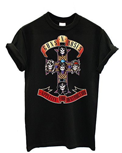 T-shirt Uomo Guns n' Roses - Appetite for Distruction Maglietta 100% cotone LaMAGLIERIA,L , Nero