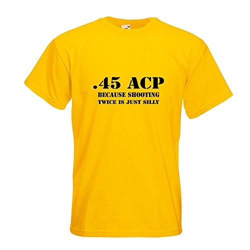 KIWISTAR - 45 ACP T-Shirt in 15 verschiedenen Farben - Herren Funshirt bedruckt Design Sprüche Spruch Motive Oberteil Baumwolle Print Größe S M L XL XXL Gelb