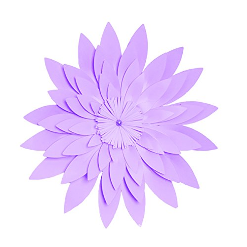 Tinksky 40 CM 3D papier fleur décoration murale Artisanat artificiel pour la décoration de la maison de partie (violet clair)