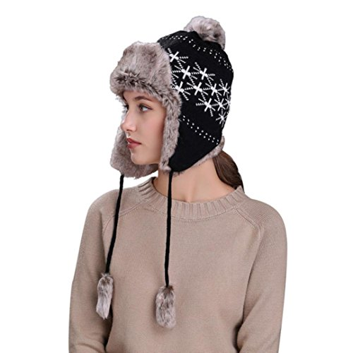 FEITONG Frauen Warmer Hut Ohrschutz Strickmützen Damen Winter Schnee Ski Hüte Dickes Strick Beanie Kappen Hut (Kopfumfang:ca.55cm~65cm, Schwarz-2)