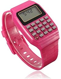 Pappi Boss - QUALITY ASSURED - Unisex Silicone Smart Reddish Pink Calculator Digital Led Wrist Band for Boys, Girls, Kids
