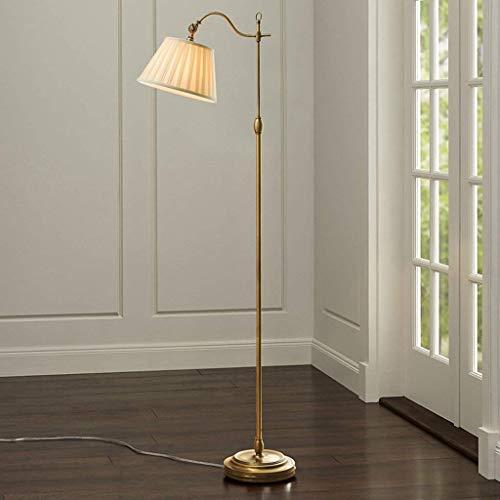 Antike Messing Stehlampe (HhGold Vintage Style Antik Messing & Stoff Stehlampe Schlafzimmer Stehlampe (Farbe : -, Größe : -))