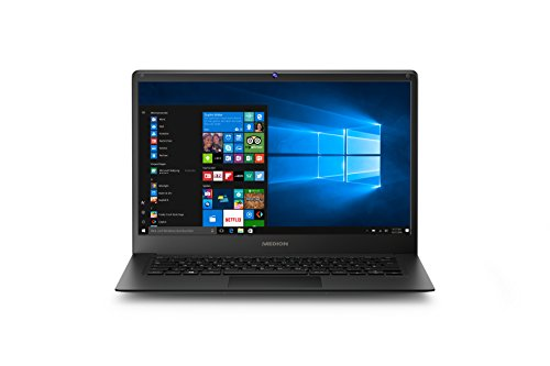 Medion Akoya E4241 MD 61036 35,6 cm (14 Zoll Full HD Display) Laptop (Intel Atom x5-Z8350, 2GB RAM, 64GB Flash-Speicher, Intel HD-Grafik, Win 10 Home) Dark Silber
