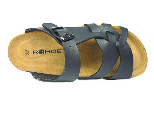Rohde 6444/90 Damen Bio Pantolette sportlicher Boden Schwarz