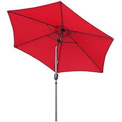Angel Living Parasol de Jardin avec Pare-Soleil à mécanisme d'inclinaison par manivelle pour Balcon de terrasse (270cm Rouge)
