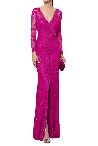 Milano Bride Damen Glaezend Tief V-Ausschnitt Langarm Abendkleider Promkleider Ballkleider Festkleider Spitzen Rueckenfrei Lang Pink