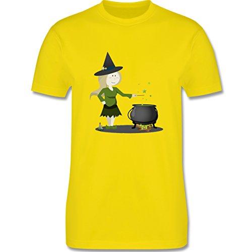 Halloween - kleine Hexe - Herren Premium T-Shirt Lemon Gelb