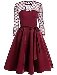 a8d3fcabc5c12e Zeagoo Elegant Damen Kleider Kurzarm Retro Vintage 50er Jahr Sewing  Rockabilly Kleid Cocktailkleid Abendkleid…